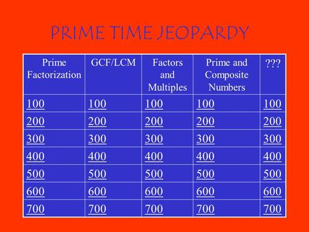 PRIME TIME JEOPARDY Prime Factorization GCF/LCMFactors and Multiples Prime and Composite Numbers ??? 100 200 300 400 500 600 700.