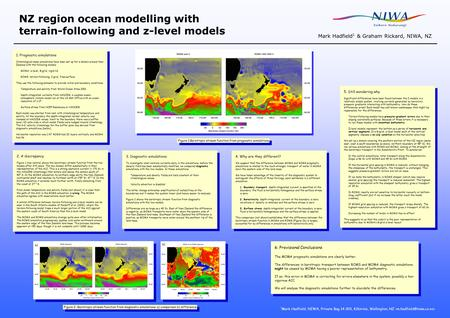 NZ region ocean modelling with terrain-following and z-level models Mark Hadfield 1 & Graham Rickard, NIWA, NZ 1. Prognostic simulations Climatological-mean.