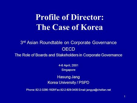 Profile of Director: The Case of Korea