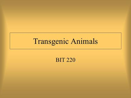 Transgenic Animals BIT 220.