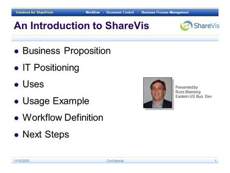 Solutions for SharePoint Workflow - Document Control - Business Process Management 11/15/2005Confidential1 An Introduction to ShareVis Business Proposition.
