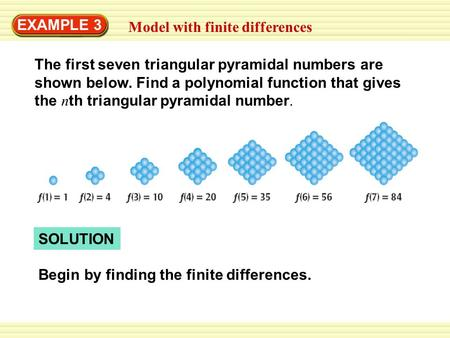 EXAMPLE 3 Model with finite differences The first seven triangular pyramidal numbers are shown below. Find a polynomial function that gives the n th triangular.