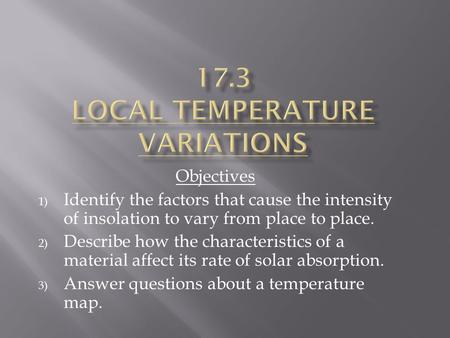 17.3 Local temperature variations