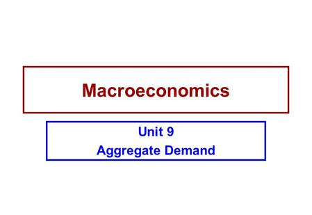 Macroeconomics Unit 9 Aggregate Demand. Introduction In this unit we examine the components of aggregate demand closely. One of the key components is.