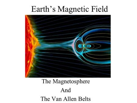 Earth's Magnetic Field The Magnetosphere And The Van Allen Belts.