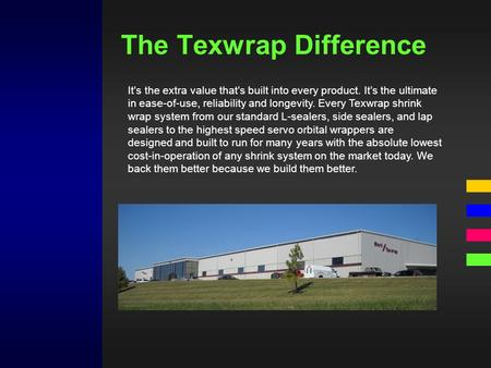 The Texwrap Difference It's the extra value that's built into every product. It's the ultimate in ease-of-use, reliability and longevity. Every Texwrap.