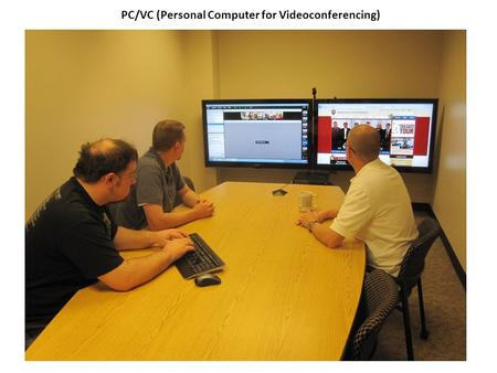 "PC/VC (Personal Computer for Videoconferencing). Dual 52"" LCD's on Premier Mounts PSD-TS60 floor stand + UFA-XL dual TV bracket, PC and webcam USB-XLR."