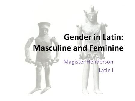 Gender in Latin: Masculine and Feminine Magister Henderson Latin I.