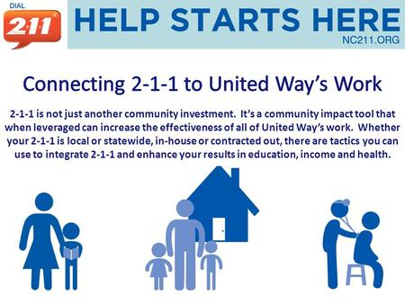 2-1-1 is not just another community investment. It's a community impact tool that when leveraged can increase the effectiveness of all of United Way's.