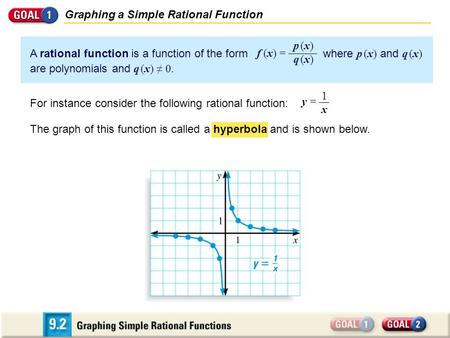 Graphing a Simple Rational Function A rational function is a function of the form where p (x) and q (x) are polynomials and q (x) ≠ 0. p (x)q (x)p (x)q.