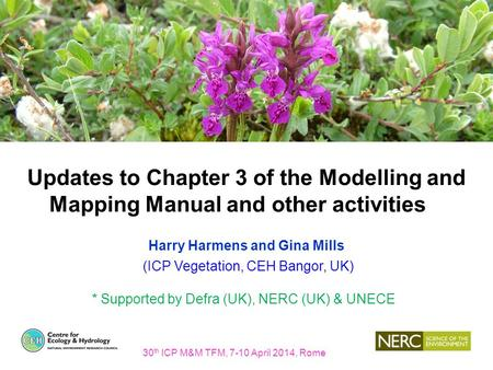 Updates to Chapter 3 of the Modelling and Mapping Manual and other activities Harry Harmens and Gina Mills (ICP Vegetation, CEH Bangor, UK) * Supported.