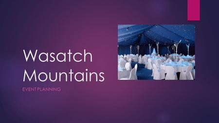 Wasatch Mountains EVENT PLANNING. Mission and Vision:  Mission: Our purpose is to create the ideal event for our clients in a convenient and un-stressful.