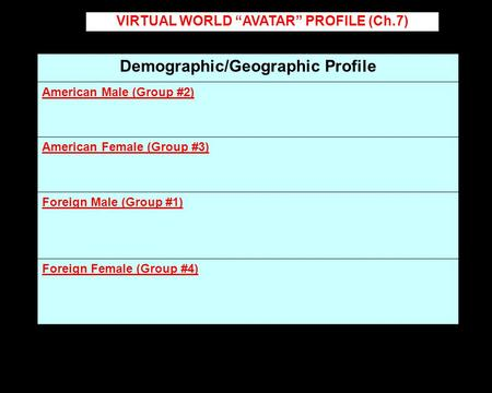"Demographic/Geographic Profile American Male (Group #2) American Female (Group #3) Foreign Male (Group #1) Foreign Female (Group #4) VIRTUAL WORLD ""AVATAR"""