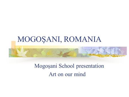 MOGOŞANI, ROMANIA Mogoşani School presentation Art on our mind.