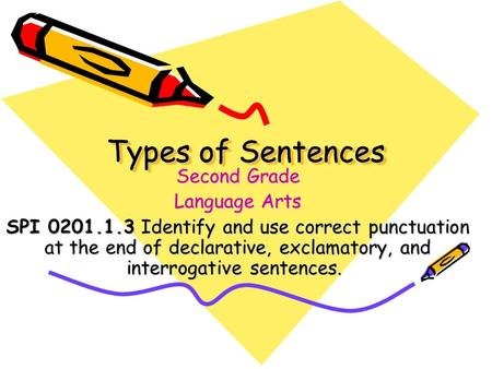 Types of Sentences Second Grade Language Arts SPI 0201.1.3 Identify and use correct punctuation at the end of declarative, exclamatory, and interrogative.