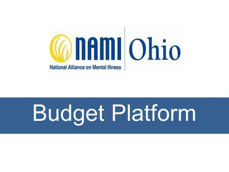 Budget Platform. BACKGROUND: As Ohio's mental health system crumbles, it is consumers and families who pay the price. We must provide sufficient funding.