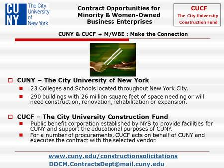 Contract Opportunities for CUCF Minority & Women-Owned The City University Business.