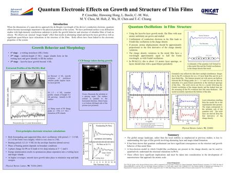 Quantum Electronic Effects on Growth and Structure of Thin Films P. Czoschke, Hawoong Hong, L. Basile, C.-M. Wei, M. Y. Chou, M. Holt, Z. Wu, H. Chen and.