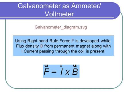 Galvanometer as Ammeter/ Voltmeter Galvanometer_diagram.svgGalvanometer_diagram.svg‎ Using Right hand Rule Force F is developed while Flux density B from.