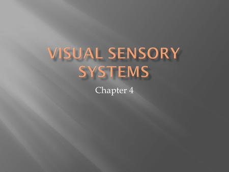 Chapter 4.  Visual stimulation is a wave of electromagnetic energy  Visual spectrum has a point along a wavelength  Wavelength determines hue (color)