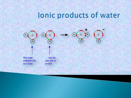  Water molecules can function as both acids and bases. One water molecule (acting as a base) can accept a hydrogen ion from a second one (acting as.