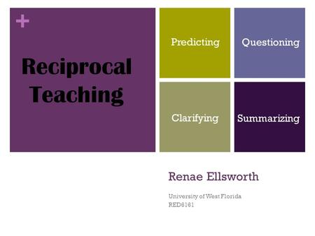 + Renae Ellsworth University of West Florida RED6161 Reciprocal Teaching Predicting Questioning Clarifying Summarizing.
