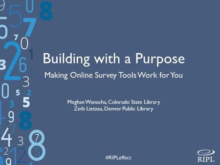 Building with a Purpose Making Online Survey Tools Work for You Meghan Wanucha, Colorado State Library Zeth Lietzau, Denver Public Library.