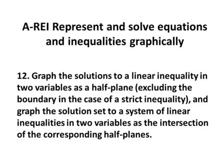 A-REI Represent and solve equations and inequalities graphically