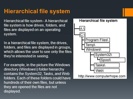 Hierarchical file system Hierarchical file system - A hierarchical file system is how drives, folders, and files are displayed on an operating system.
