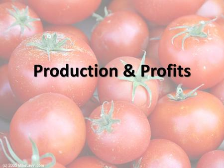 Production & Profits. Production and Profits Jennifer and Jason run an organic tomato farm Jennifer and Jason run an organic tomato farm The market price.