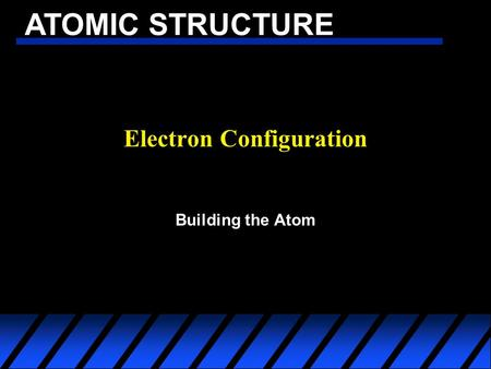ATOMIC STRUCTURE Electron Configuration Building the Atom.