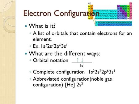 Electron Configuration What is it? ◦ A list of orbitals that contain electrons for an element. ◦ Ex. 1s 2 2s 2 2p 6 3s 1 What are the different ways: ◦