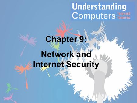 Chapter 9: Network and Internet Security. Overview This chapter covers: – Security concerns stemming from the use of computer networks and the Internet.