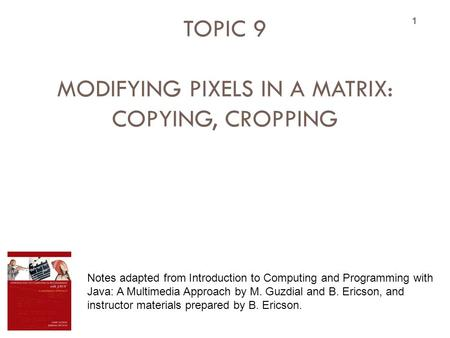 TOPIC 9 MODIFYING PIXELS IN A MATRIX: COPYING, CROPPING 1 Notes adapted from Introduction to Computing and Programming with Java: A Multimedia Approach.
