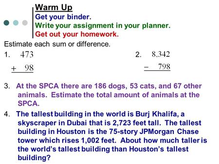 Warm Up Get your binder. Write your assignment in your planner. Get out your homework. Estimate each sum or difference. 1.2. 3. At the SPCA there are 186.