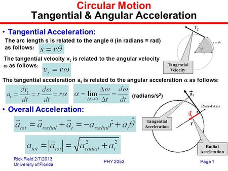 Rick Field 2/7/2013 University of Florida PHY 2053Page 1 Circular Motion Tangential & Angular Acceleration The arc length s is related to the angle  (in.