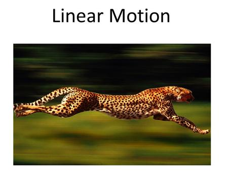 Linear Motion. Moving things have two different kinds of motion Linear Motion Harmonic Motion Motion is a change in position in a certain amount of time.