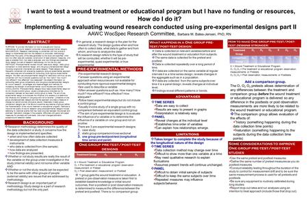 I want to test a wound treatment or educational program but I have no funding or resources, How do I do it? Implementing & evaluating wound research conducted.