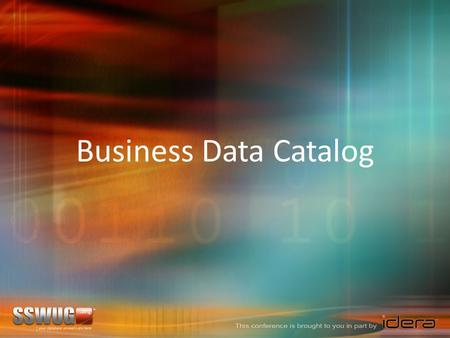 Business Data Catalog. Planning the Business Data Catalog Configuring the Business Data Catalog In This Session …
