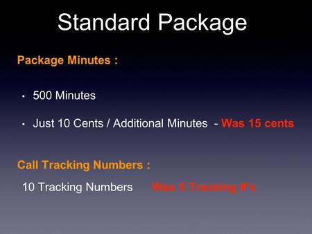 Standard Package Package Minutes : 500 Minutes Just 10 Cents / Additional Minutes - Was 15 cents Call Tracking Numbers : 10 Tracking Numbers Was 5 Tracking.