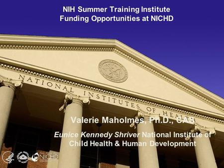 1 NIH Summer Training Institute Funding Opportunities at NICHD Valerie Maholmes, Ph.D., CAS Eunice Kennedy Shriver National Institute of Child Health &