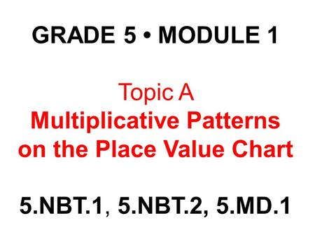 Multiplicative Patterns on the Place Value Chart
