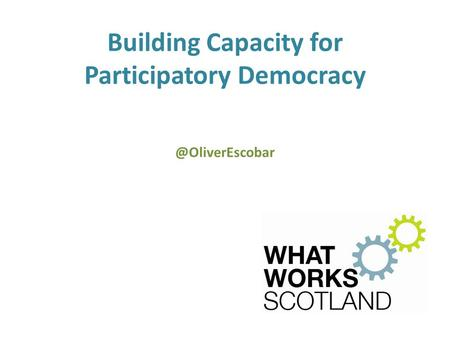 Building Capacity for Participatory