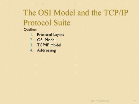 The OSI Model and the TCP/IP Protocol Suite