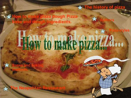 The history of pizza The Neapolitan Restaurant How to make pizza dough Pizza base and dough ingredients. Authors Pizza styles Bases and baking methods.