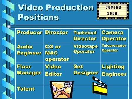 Video Production Positions ProducerDirector Technical Director Camera Operator Audio Engineer CG or MAC operator Videotape Operator TeleprompterOperator.