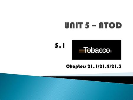 Chapters 21.1/21.2/21.3 5.1.  1a. Explain the short and long term effects of tobacco.  1e. Evaluate the impact that the use/abuse of tobacco has on.