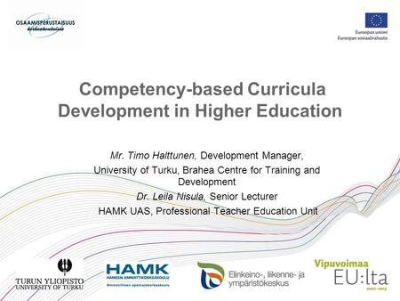 Competency-based Curricula Development in Higher Education
