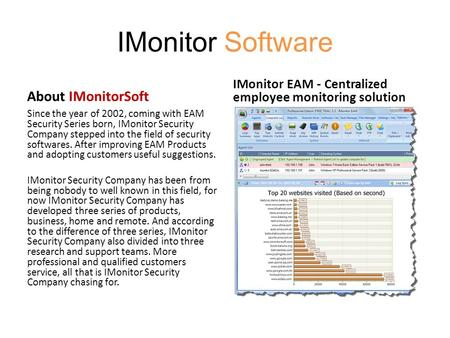 IMonitor Software About IMonitorSoft Since the year of 2002, coming with EAM Security Series born, IMonitor Security Company stepped into the field of.