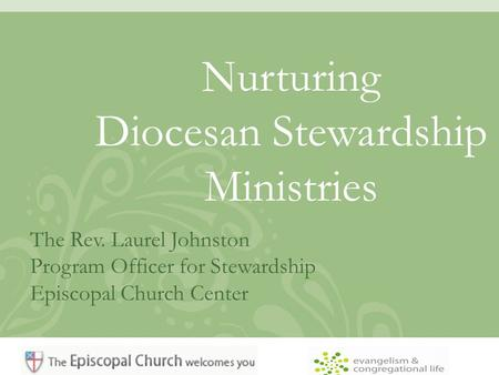 Nurturing Diocesan Stewardship Ministries The Rev. Laurel Johnston Program Officer for Stewardship Episcopal Church Center.